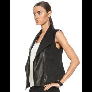 Vince Asymmetric  Leather Linen-Blend Moto Vest S